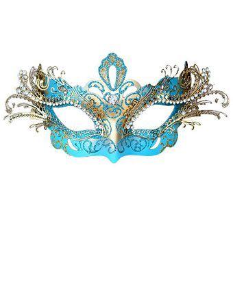 Metal Laser Cut Decorative Mask Sky Blue | Wholesale Masks for Mardi Gras Costumes