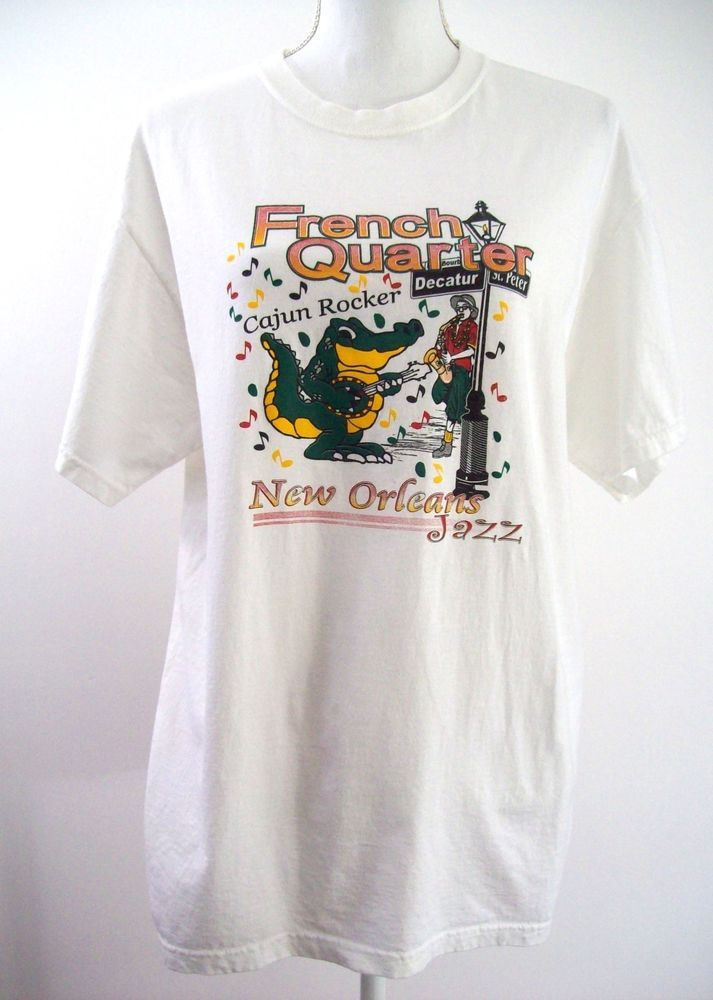 French Quarter Cajun Rocker New Orleans Jazz White Tee Shirt Bourbon St Large #JERZEES #GraphicTee