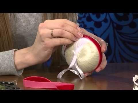 """Новогодний шар из ленты в стиле """"Артишок"""" своими руками./How to make a Christmas ball - YouTube"""