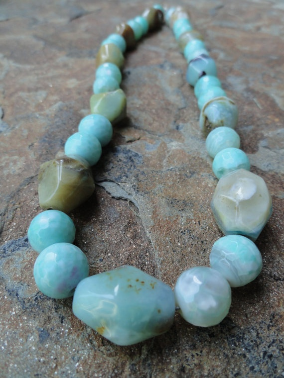 Peruvian Opals  Blues and Browns and Everything In by kimhunt, $80.00: Opals Blue, Peruvian Opals