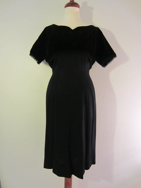 50s Little Black Pin-up Dress w/ Velvet Bolero, S-M