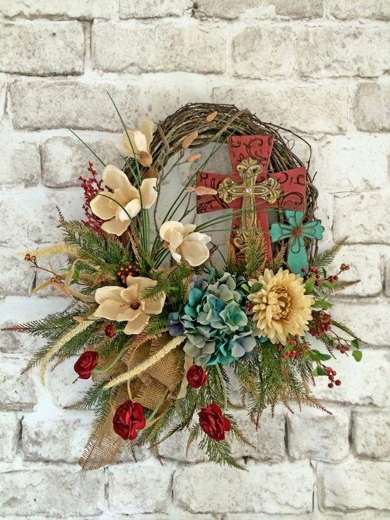 Cross Wreath, Summer Wreath for Door, Front Door Wreath, Outdoor Wreath, Silk Floral Wreath, Grapevine Wreath, Rustic Cross Wreath,Fall,Etsy