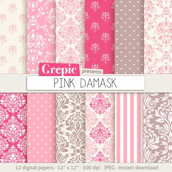 Pink damask digital paper: PINK DAMASK digital paper by Grepic                                                                                                                                                                                 More