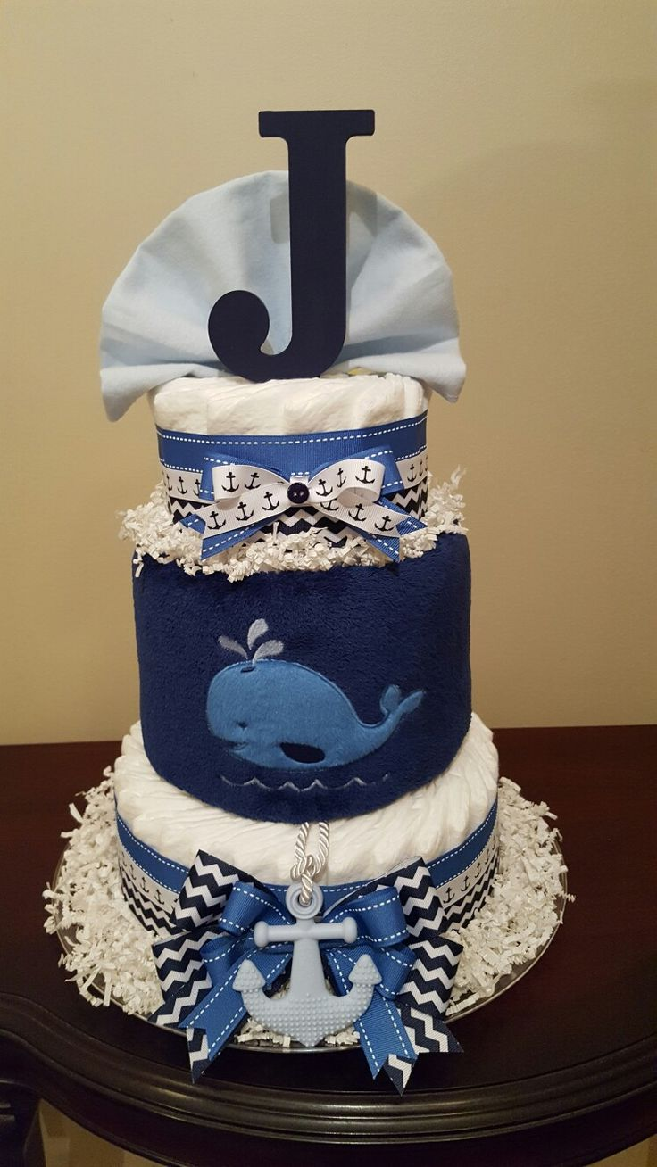 Whale it's a boy! Nautical diaper cake, baby shower centerpiece gift.  check out my Facebook page Simply Showers for more pics and orders.