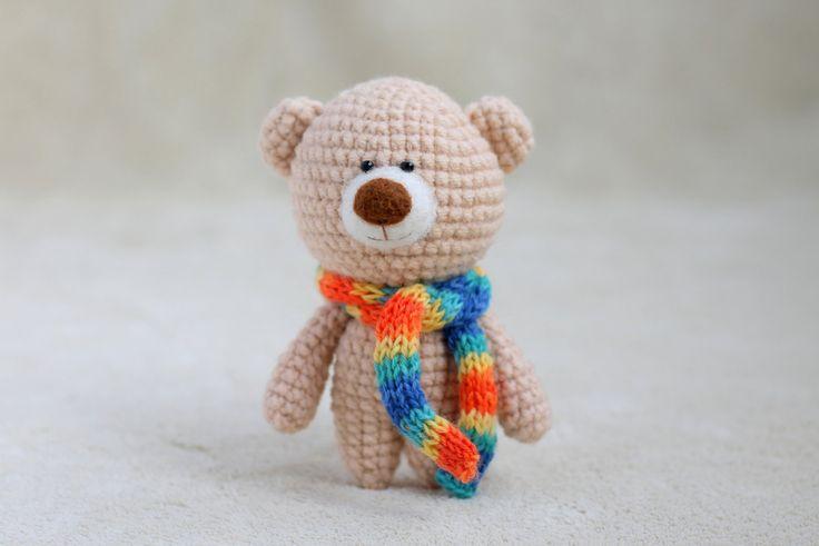 Crochet amigurumi teddy bear in the scarf - small teddy bear, personalized bear gift, birthday bear, Valentine teddy bear MADE TO ORDER by KnittedStoryBears on Etsy