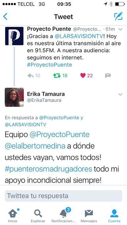 Con cada golpe solo nos hacemos más fuertes. Proyecto Puente defendiendo su libertas y la de todos. Luis Alberto Medina mi estimado amigo contigo siempre en dónde sea. Vamos por la nueva etapa de #ProyectoPuente FUERZA #PuenterosMadrugadores!!