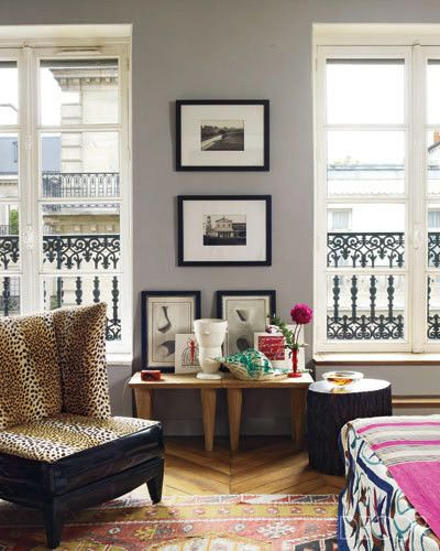 Paris Apartment Decorating Style warm grey paired with punches of colour can transform a dull room