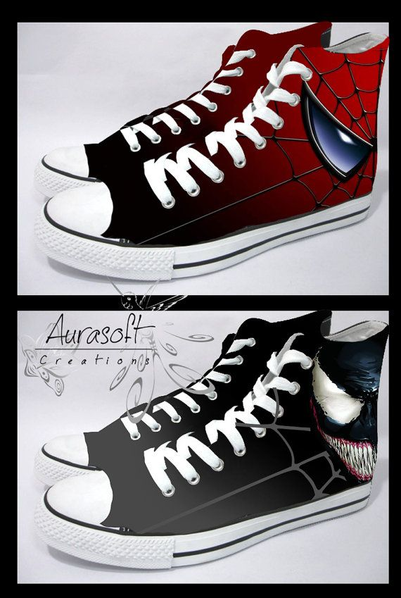 Custom Painted Converse Style Spiderman and Venom by Aurasoft, £60.00