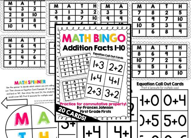math bingo addition facts 1 10 bingo math and addition facts. Black Bedroom Furniture Sets. Home Design Ideas