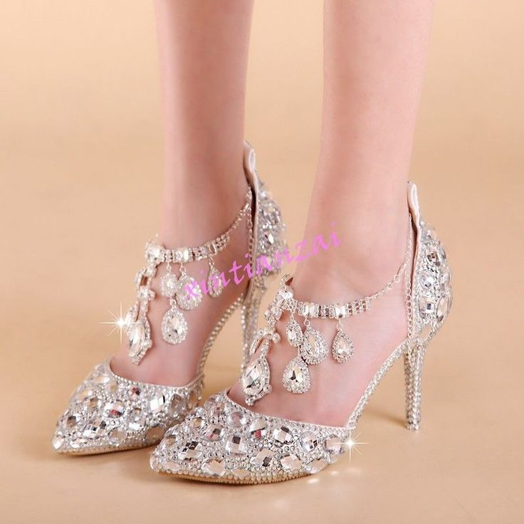 Womens Bling Wedding Stilettos Heel Lady Pump Party Rhinestones Prince Shoes Hot