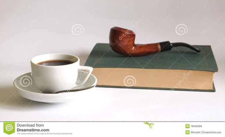 A pipe, a cup of coffee and a book