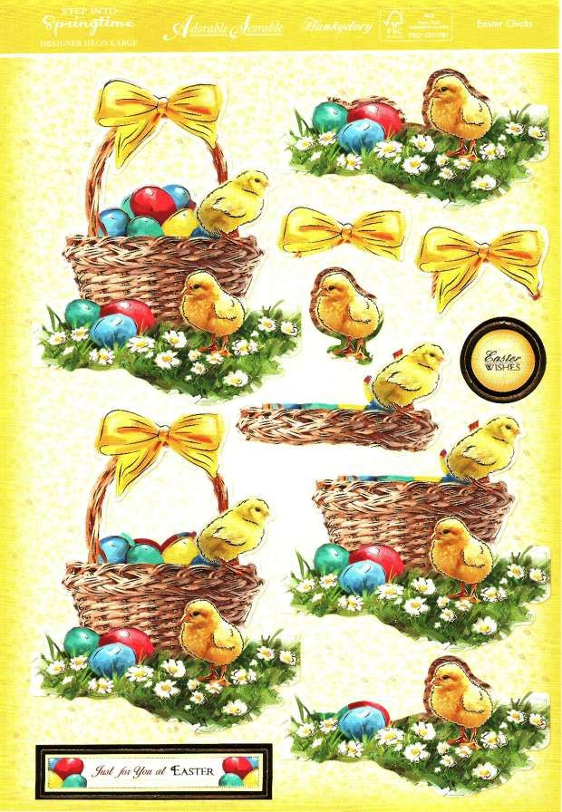 Hunkydory Step into Springtime - Easter Chick - die cut decoupage
