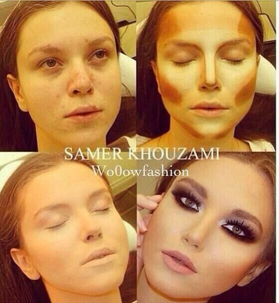 too much make up but gives a clear look at what areas should be contoured