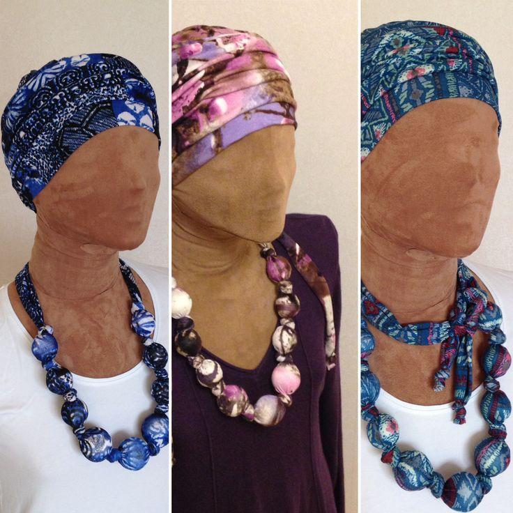 Cancerheadwear med halsband i samma tyg