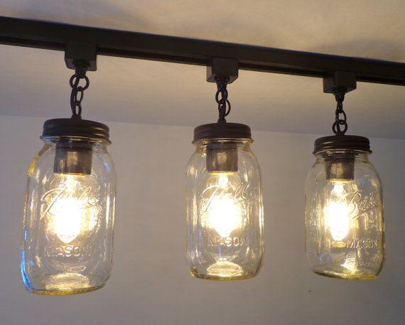 Mason Jar TRACK LIGHT Trio NEW Quarts by LampGoods on Etsy