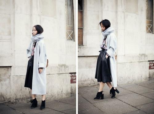 Coat – Anywho x BRICS, Shirt – Zara, Skirt – Vintage, Shoes –Topshop, Bag – Market in Vilnius, Snood – DIY (image: parkandcube)