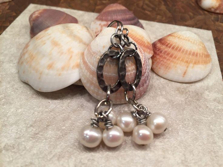 Cluster of dangling pearls fabulous feminine fashion affordable statement earrings by wandandwear on Etsy