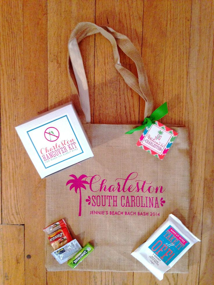 #Charleston #bachelorette party #welcome #bag including a hangover kit I Custom by Nico and Lala