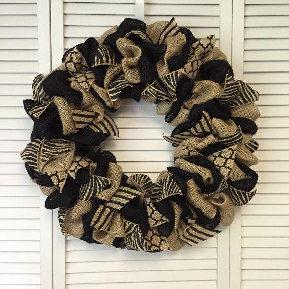 Neutral Burlap Wreath Black Zebra Wreath by ContemporaryCrafting