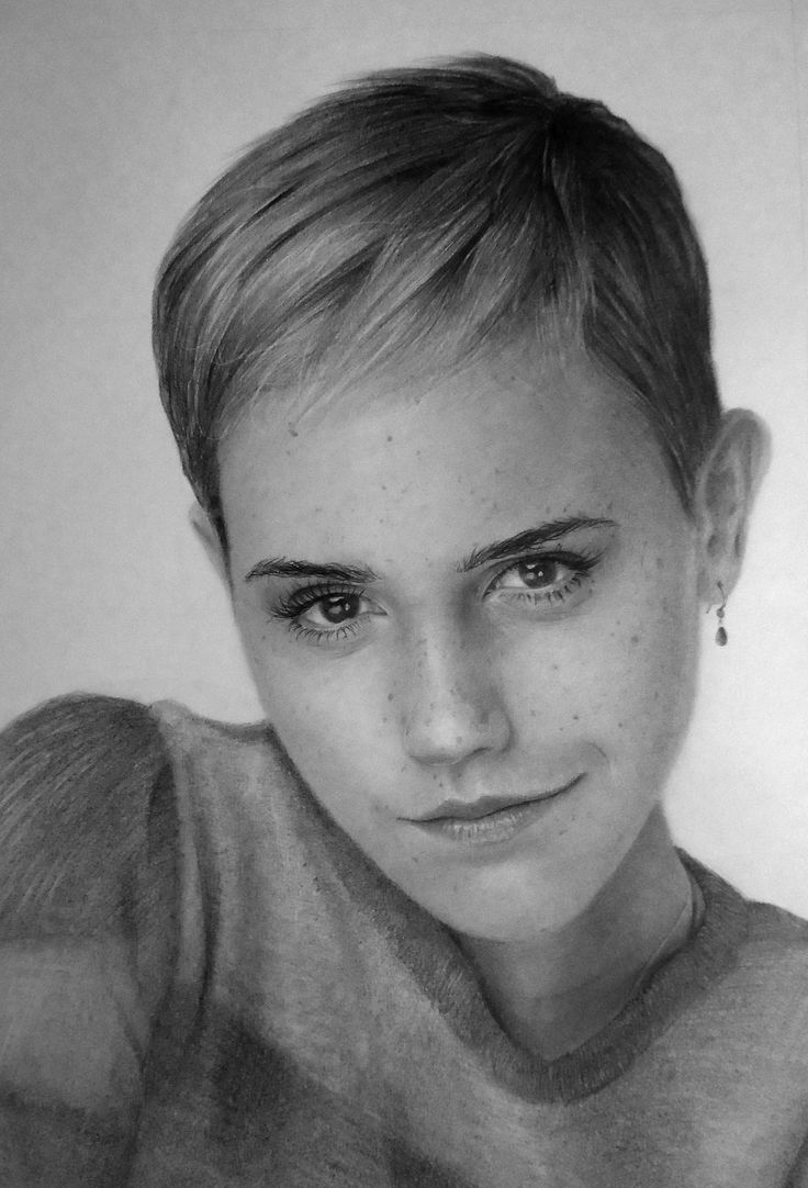 A traditional pencil drawing of Emma Watson