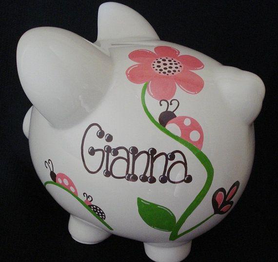 Personalized Ladybug Piggy Bank
