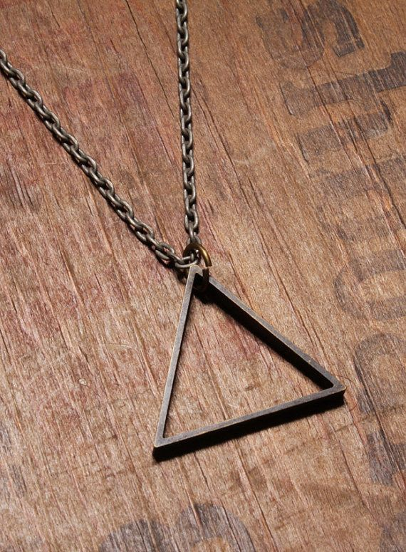 Mens Necklace - Mens Jewelry - Triangle pendant - Steel Chain