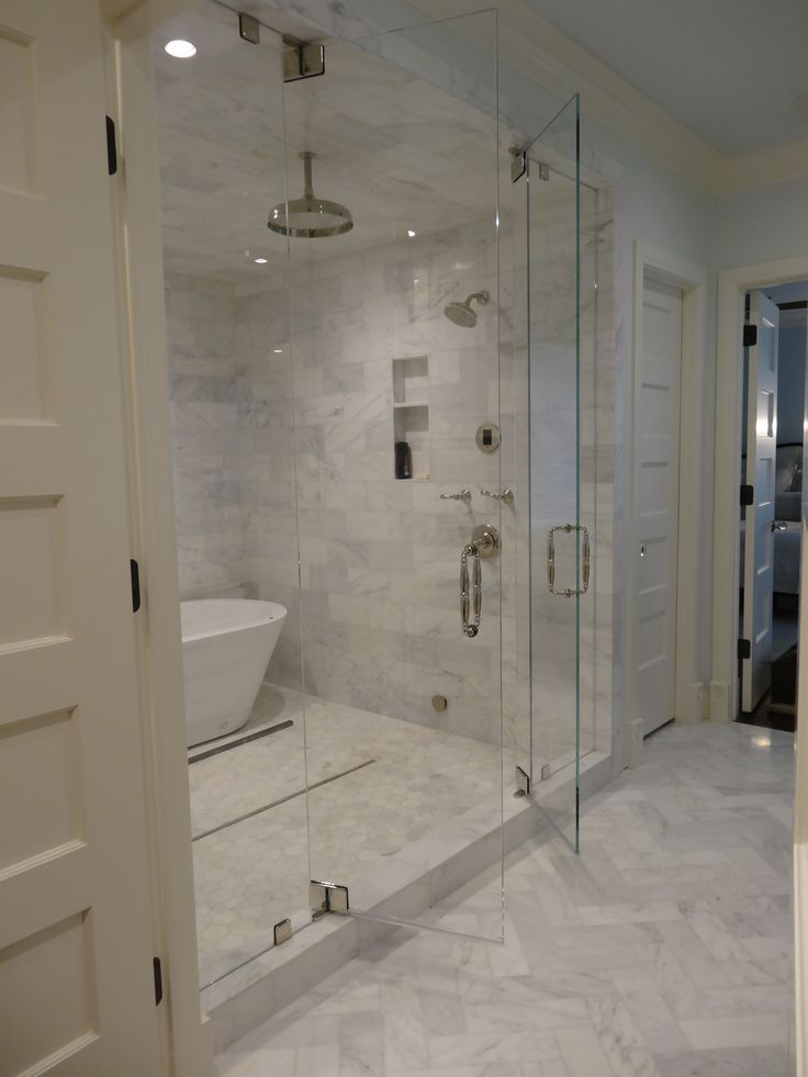 Steam Shower With Marble Tiling. Swing In And Out Doors With A Bathtub  Inside!