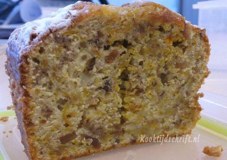 Recept voor pompoencake zonder boter en deze pompoencake is ook niet zo erg zoet. Je kunt de amandelen in de pompoencake ook vervangen door bv pecannoten.