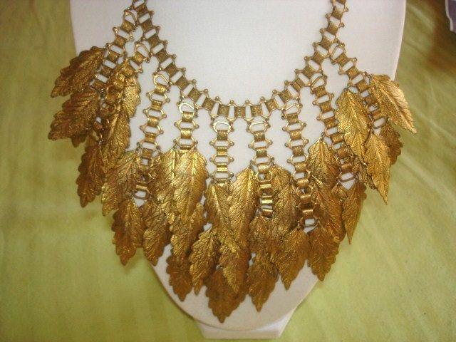 Gioielli vintage Autum Foglie Collana oro tono di sanibelsands