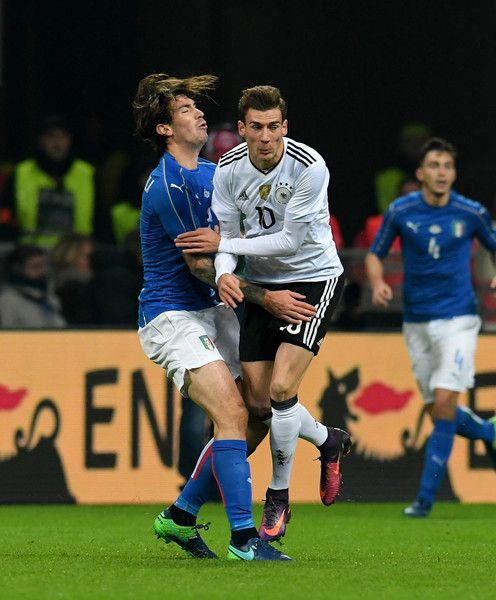 Alessio Romagnoli of Italy fights for the ball with Leon Goretzka of Germany during the International Friendly Match between Italy and Germany at Giuseppe Meazza Stadium on November 15, 2016 in Milan, Italy.
