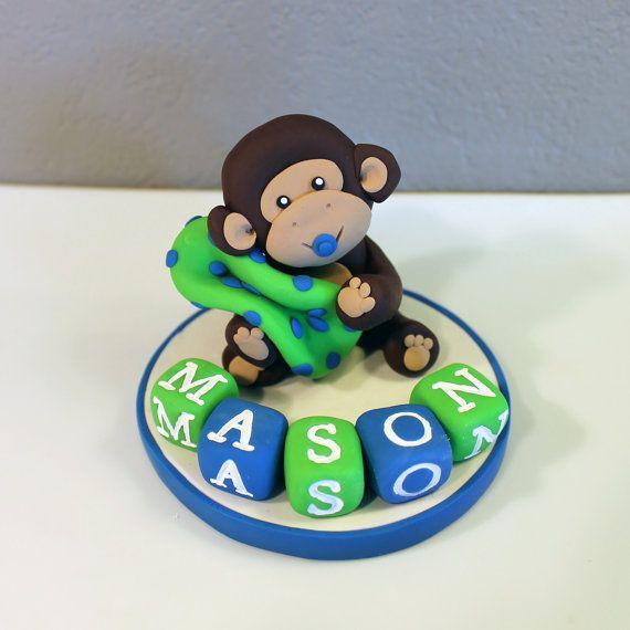 LARGE Monkey Custom Cake Topper for Birthday or Baby Shower on Etsy, $24.95