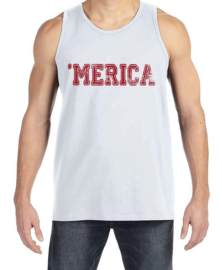 Men's 4th of July Tank Top - Red 'Merica - White Tank - Patriotic Merica 4th of July Party Shirt - Men's Independence Day Patriotic Tank Top