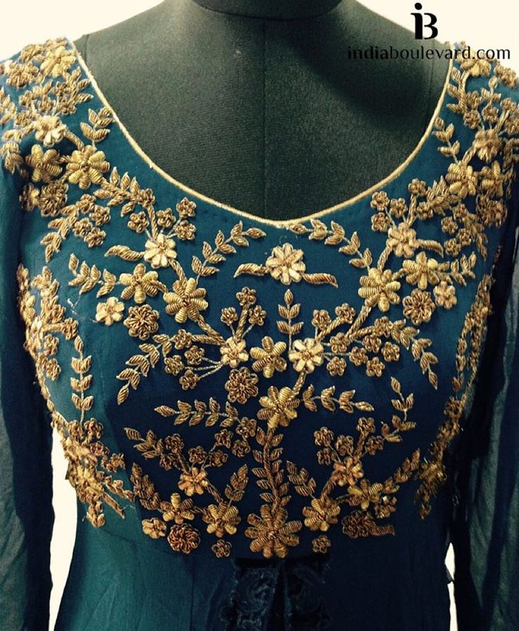 «Monday detailing! Straight to work with gold zardozi work on a emerald anarkali. For all prices and inquries, please email us at…»
