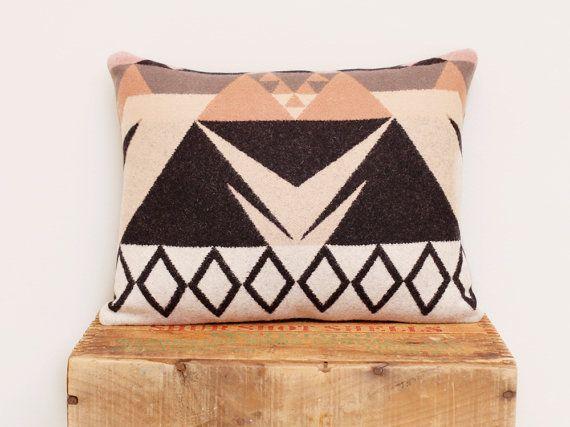 Geometric Wool Pillow // Triangle / Rose White Black