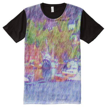 Sea and boat drawing All-Over-Print shirt - tap, personalize, buy right now!