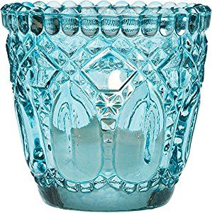 Amazon.com: Luna Bazaar Vintage Glass Candle Holder (2.75-Inch, Faceted Design, Turquoise Blue) - For Use with Tea Lights - For Home Decor, Parties, and Wedding Decorations: Home & Kitchen