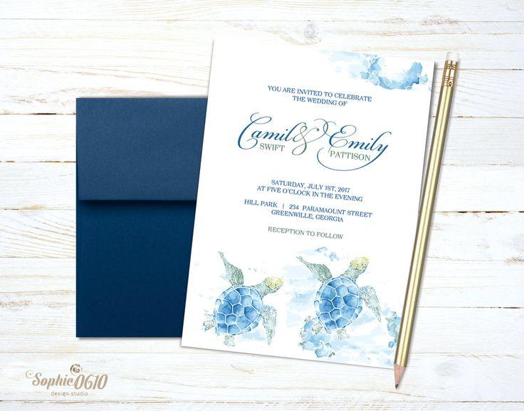 Sea turtle summer wedding invitation, printable watercolor wedding invitation, nature lovers digital wedding set by Sophie0610Designs on Etsy