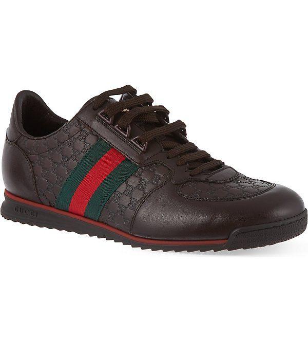 GUCCI SL73 leather trainers (Dark+brown