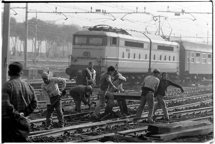 Operai FS a lavoro sulla linea.