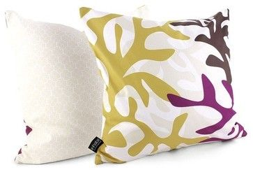 Reef Throw Pillow in Plum modern bed pillows and pillowcases