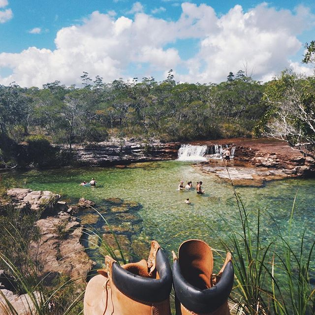 According to the TNQ Tourism authority this is a great place to stop for a swim on the way to the cape - follow seesomethingnew for more Australian holiday ideas!   Posted on instagram by @webiinsta who says 'Midday remedies at Fruitbat Falls, Cape York'