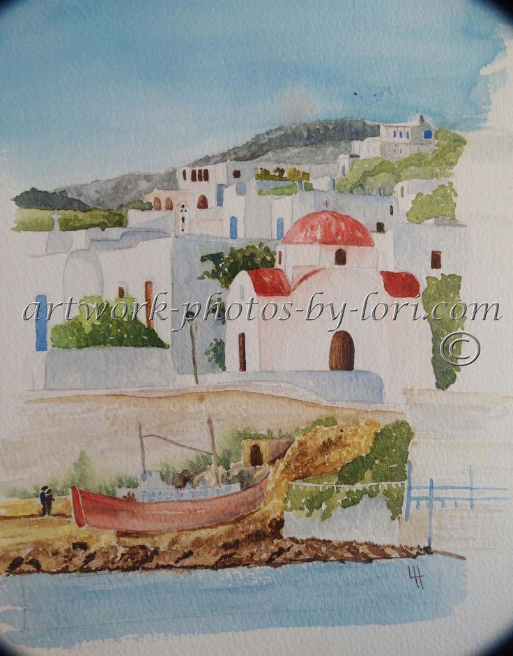 original hand painted watercolour of a Greek village
