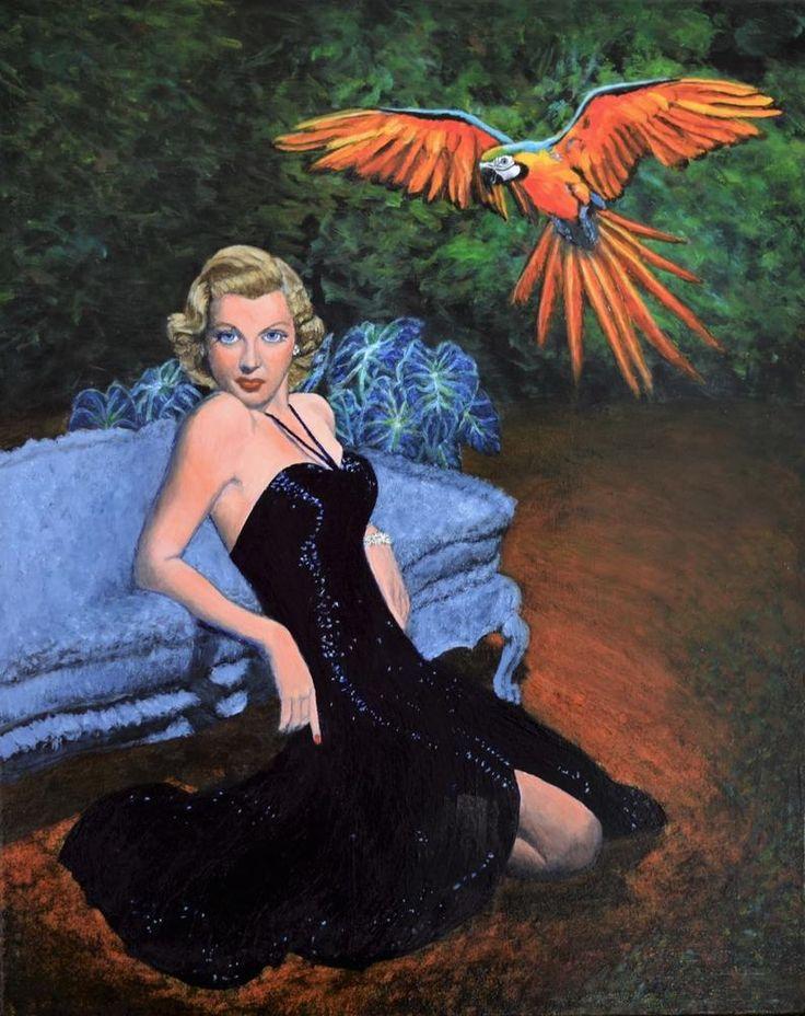 Original retro landscape macaw Lana Turner pulp painting wall art Jane Ianniello