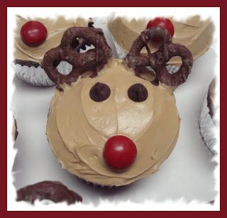 Reindeer Cupcakes Red peanut butter M's for the nose Chocolate chips and
