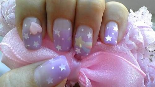 Nail art. Totally reminds me of Care Bears !