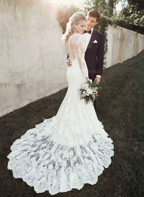 Wedding Dresses - $268.82 - Trumpet/Mermaid Scoop Neck Court Train Lace Wedding Dress With Lace (0025093146)