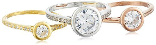 Sterling Silver Gold Plated Tri Colored Zirconia Bezel Set Three Band Rings, Size 7 ** Click image to review more details.