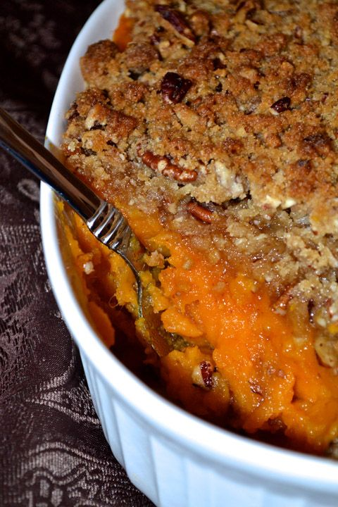 Sweet potato casserole with pecan pie streusel