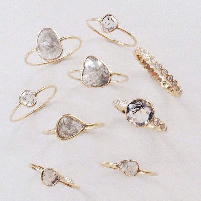 Raw Diamond Slice Rings