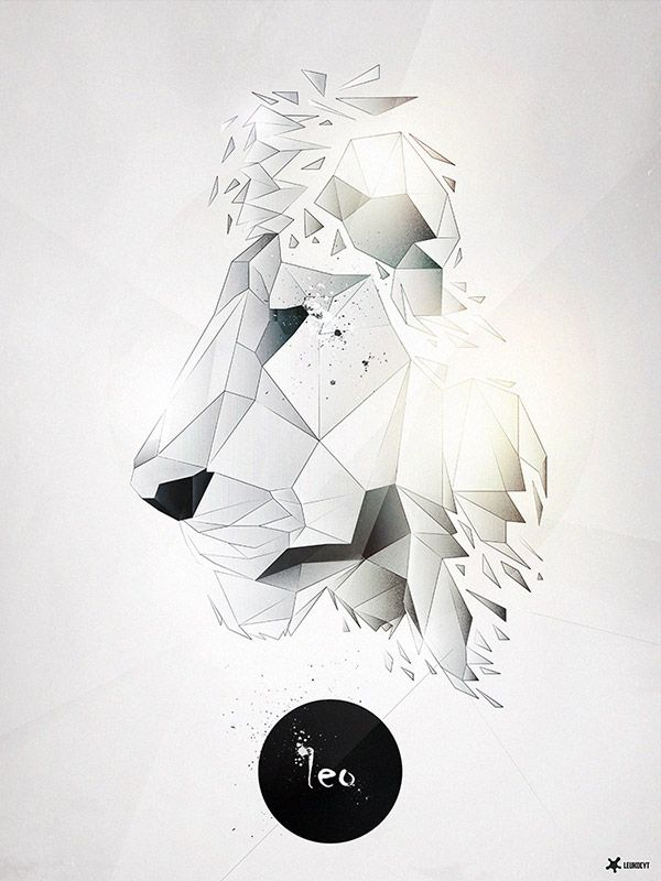 Geometric shapes merging together to make the image of a lion. Black and gray shading.